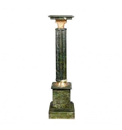 Column in green marble Napoleon III style. Empire furniture -