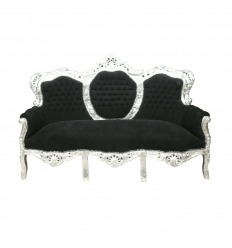 Barockes Sofa in Schwarz und Silber