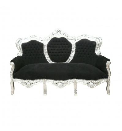 Divano barocco nero e argento - mobili in stile barocco -
