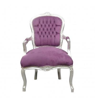 Purple Louis XV armchair - Baroque Louis XV armchair -