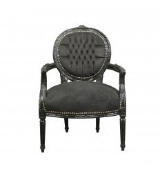 Fauteuil Louis XVI en velours noir