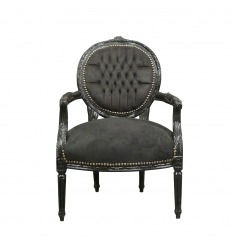 Louis XVI armchair in black velvet