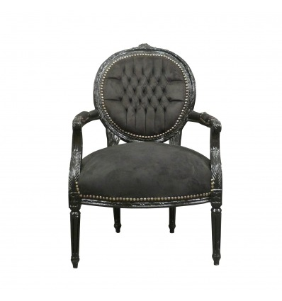 fauteuil louis xvi en velours noir. Black Bedroom Furniture Sets. Home Design Ideas