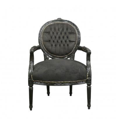 Louis XVI armchair in black velvet - Louis XVI armchair