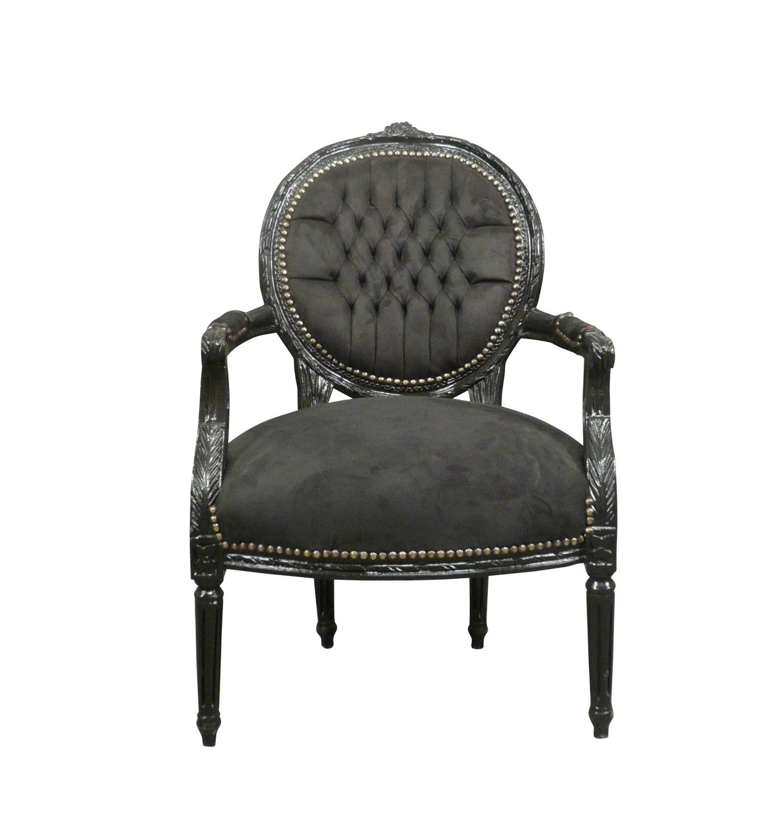 fauteuil louis xvi en velours noir. Black Bedroom Furniture Sets. Home Design Ideas