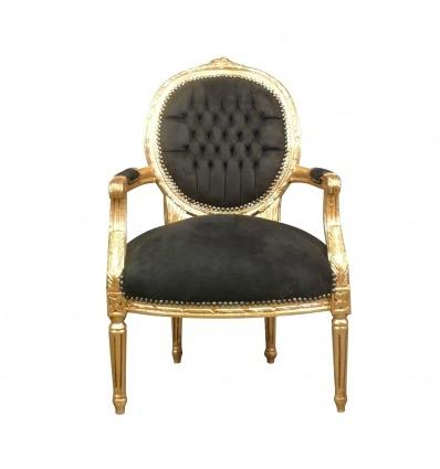 Sillón Luis XVI negro y madera dorada. - Sillón Luis XVI -