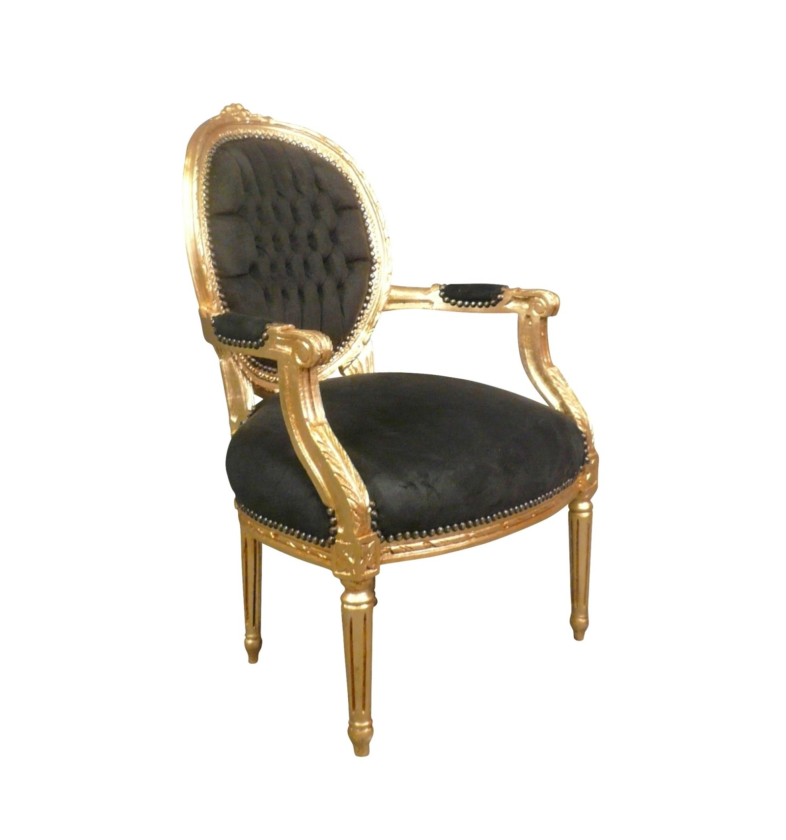 Chair Louis XVI Black And Gold Wood - Fauteuil louis xvi