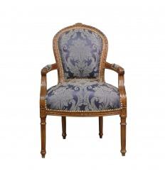 Fauteuil Louis XVI bleu en bois massif