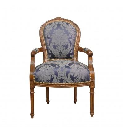 Синий Людовика XVI кресло в твердой древесины - Людовик XVI кресло