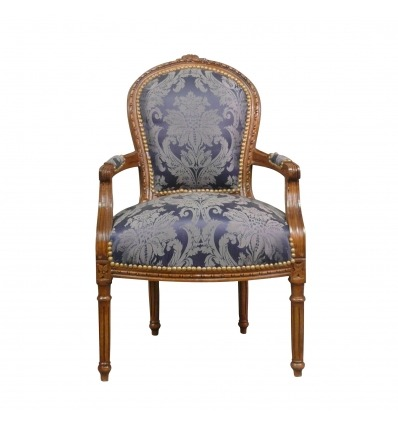 fauteuil louis xvi bleu en bois massif. Black Bedroom Furniture Sets. Home Design Ideas