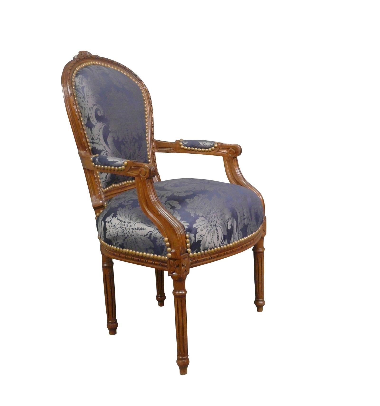 Sedia Luigi XVI blu in legno massello