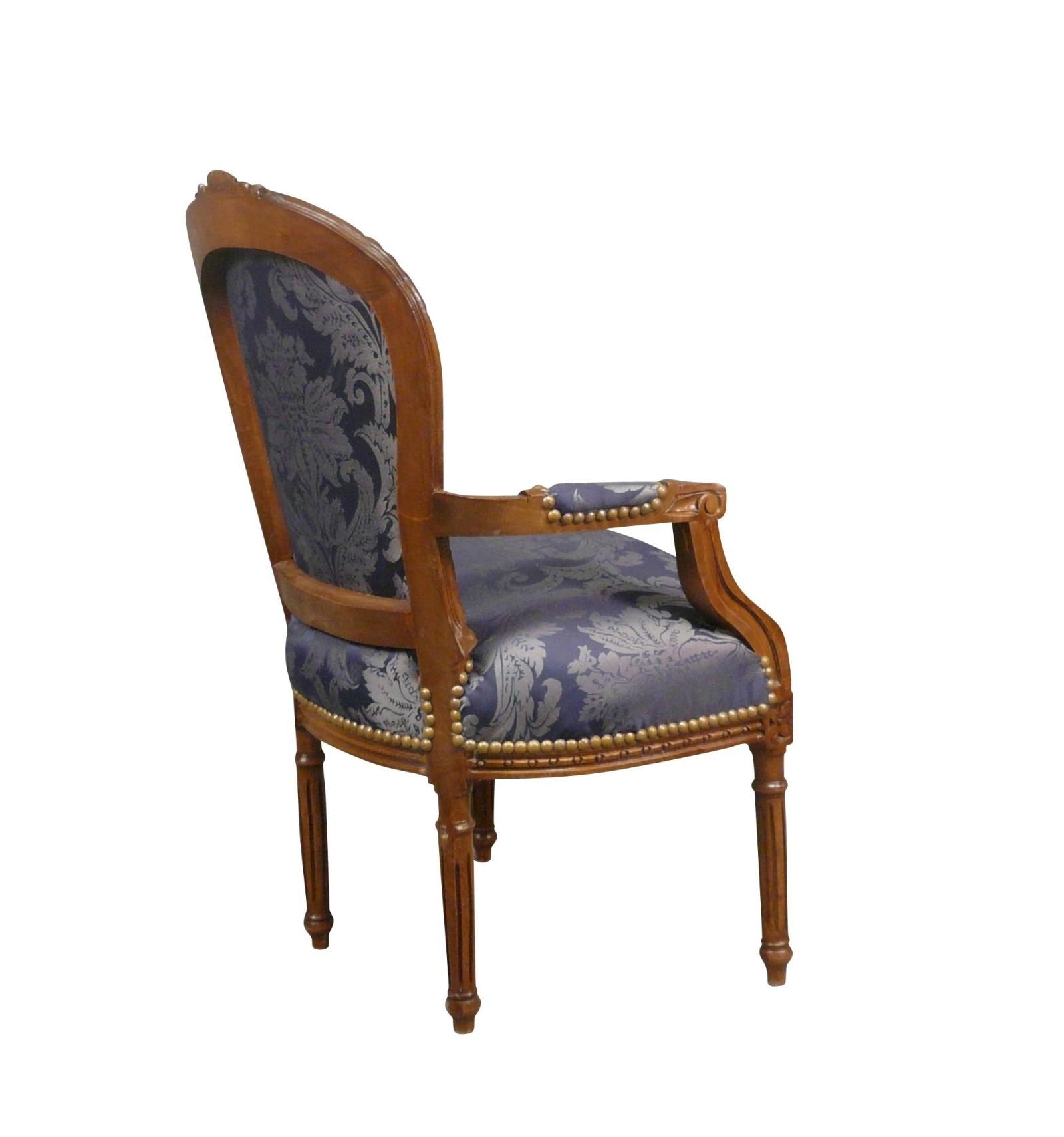 fauteuil louis xvi bleu en bois massif. Black Bedroom Furniture Sets. Home Design Ideas