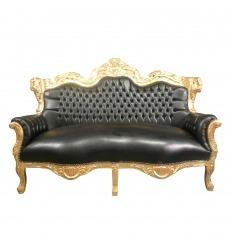 Divano in stile barocco nero da legno dorato
