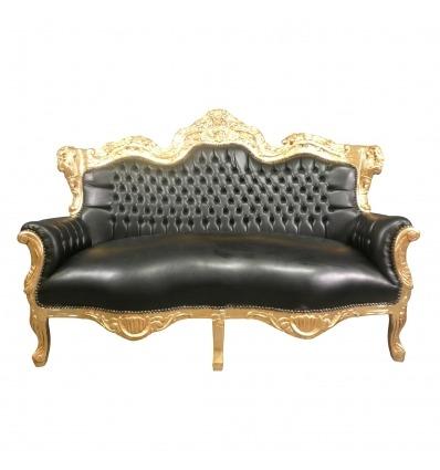 Černý barokní zlacené dřevo rozkládací - Pohovka barokní
