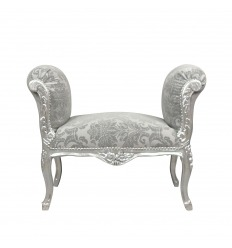 Baroque bench in grey fabric