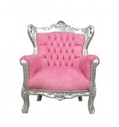 Fauteuil baroque rose et argent enfant