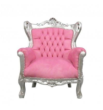 Růžová a stříbrná - barokní křeslo židle a nábytek Deco -