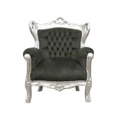 Baroque armchair black and silver child