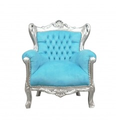 Baroque armchair blue and silver