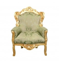 Fauteuil baroque vert