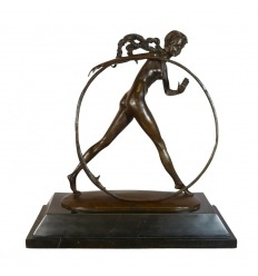 Bailarina con aro - Art Deco Bronze Sculpture