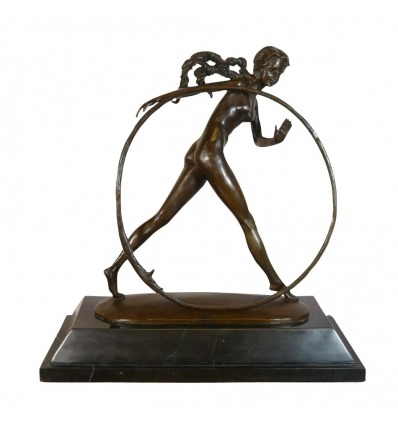 Dancer with hoop - Bronze sculpture art deco - Decoration -