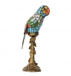 Lâmpada do papagaio com um indicador de vidro manchado de Tiffany