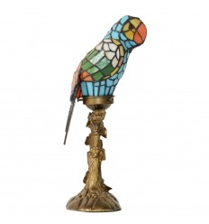 Lámpara de parrot con un vitral Tiffany