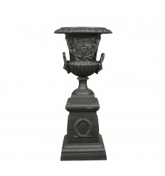 Vase Medicis cast iron black iron with pedestal base - H: 103 cm