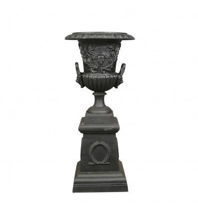 Wazon Medyceuszy z żeliwa, żelaza czarny z podstawą - H: 103 cm - Wazony Medici