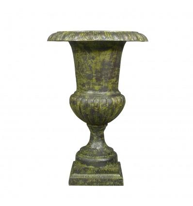Vase Médicis en fonte de fer verte - H: 96 cm