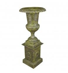 Cast iron medici vase with plinth - H: 159 cm