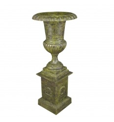 Vase Medicis cast iron with pedestal base - H: 159 cm