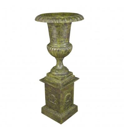 Vase Médicis en fonte avec socle - H: 159 cm