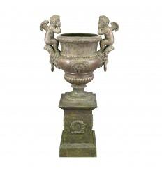 Medici vase with 2 cherubs on its base - H: 162 CM