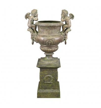 Medici vase with 2 cherubs on its base - H: 162 CM - Medicis vase with base -