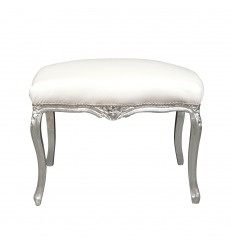 Baroque white bench and silver wood