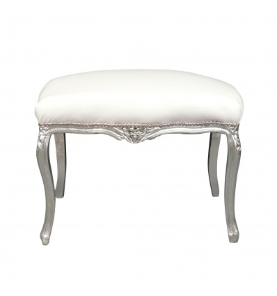 Baroque white bench and silver wood - Baroque bench -