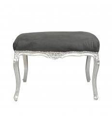 Bench baroque black wood and silver