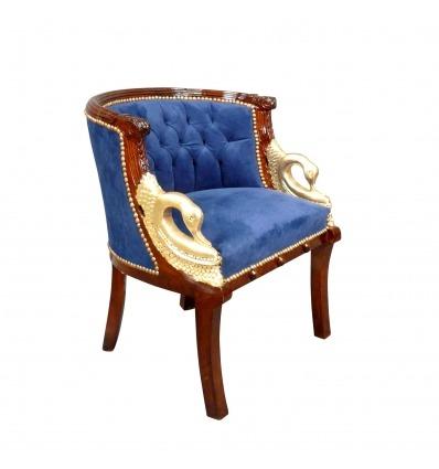 Fauteuil Napoléon III style Empire bleu