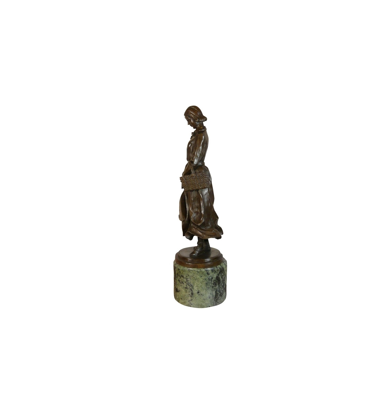Bronze Statue Woman With Basket Art Deco Statues