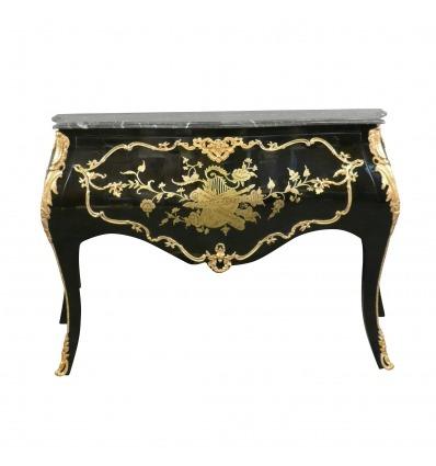 Barokní Komoda černá a zlatá - nábytek v barokním stylu -