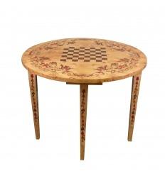 Table à jeux demi-lune Louis XVI d'échecs