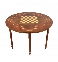 Table de jeux d'échecs demi-lune Louis XVI