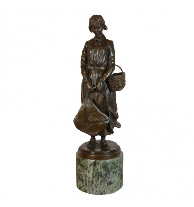 Bronze statue - The woman in basket - Art deco sculptures -