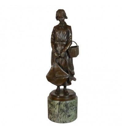 Statue en bronze - La femme au panier
