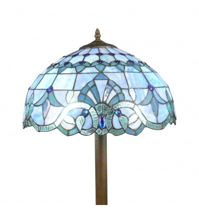 Lampadaire Tiffany bleu azur - Luminaires Tiffany -