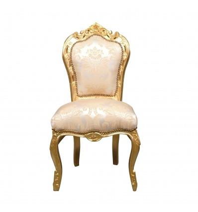 Chaise baroque au tissu de fleurs d'iris