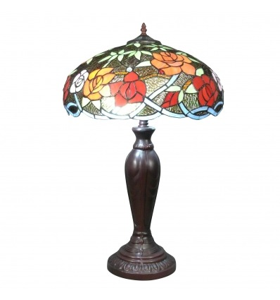 Tiffany lamp with flowers on a black background