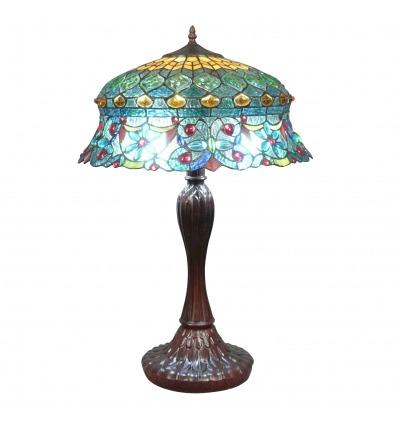 Lampada Tiffany con un vetro colorato rococò